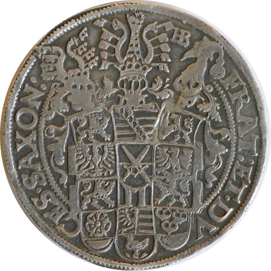 Vorderseite :Deutschland : 1 Reichstaler Christian III, Joh. Georg I und August 1591 - 1601 patina, winz. Kratzer 1595 vz.