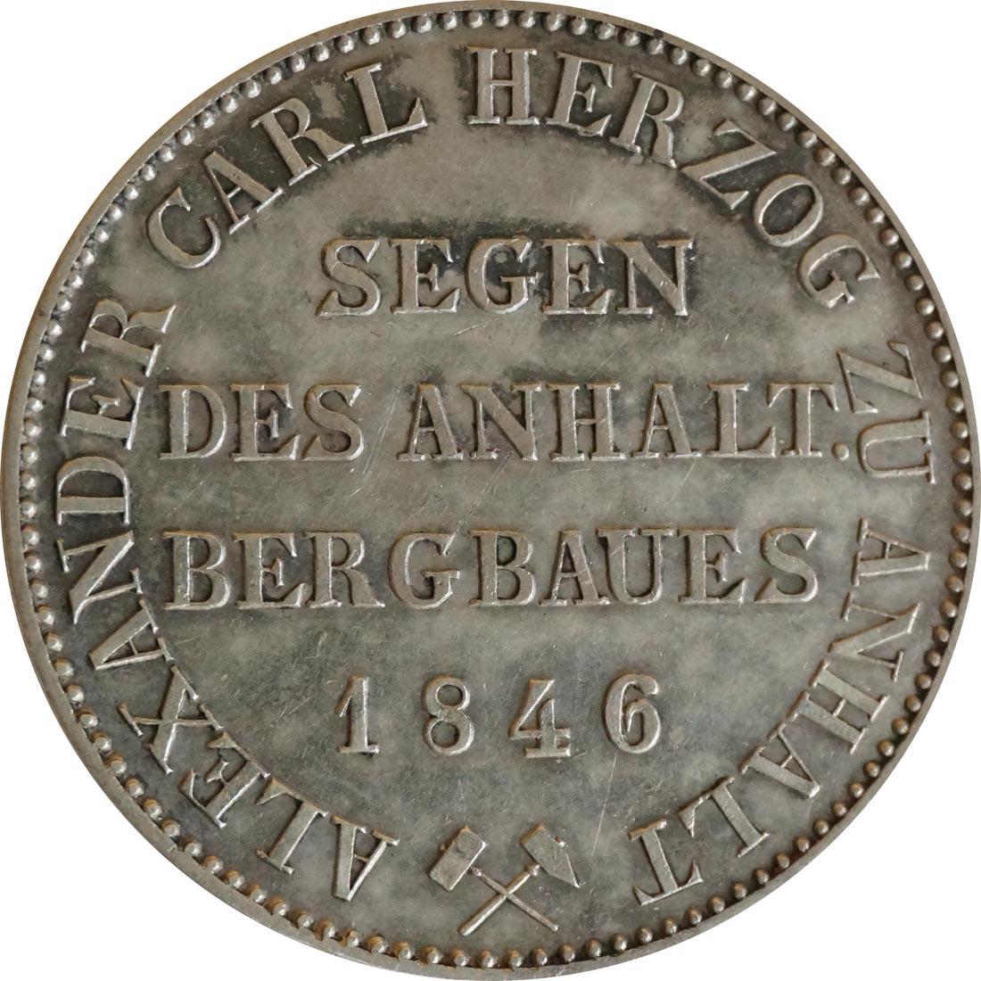 Vorderseite:Deutschland : 1 Ausbeutetaler   1846 vz/Stgl.