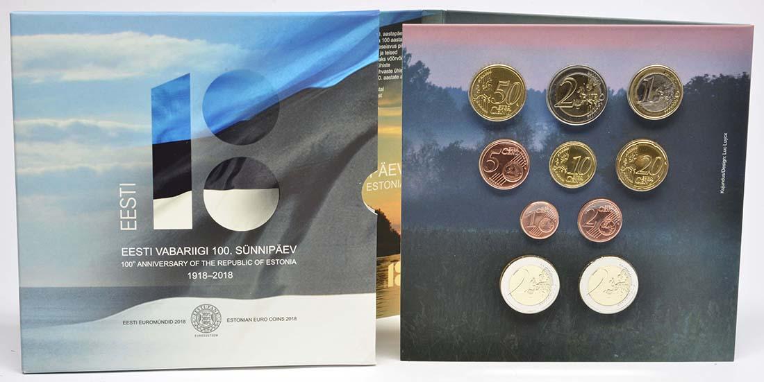 Lieferumfang:Estland : 7,88 Euro KMS Estland mit 2 x 2 Euro Gedenkmünzen  2018 Stgl.
