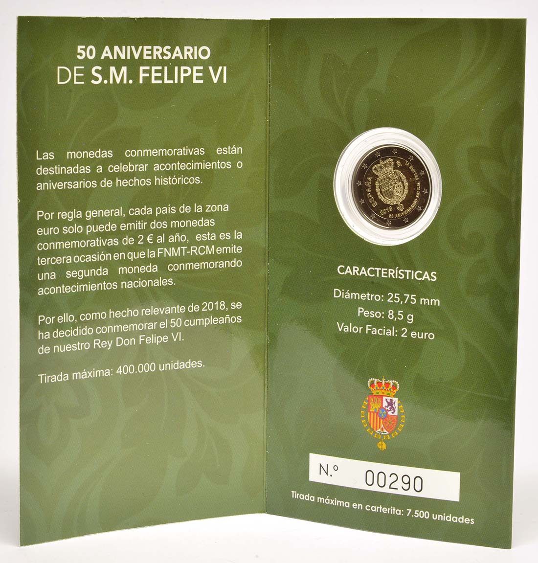 Spanien : 2 Euro 50. Geburtstag von König Felipe VI   2018 PP