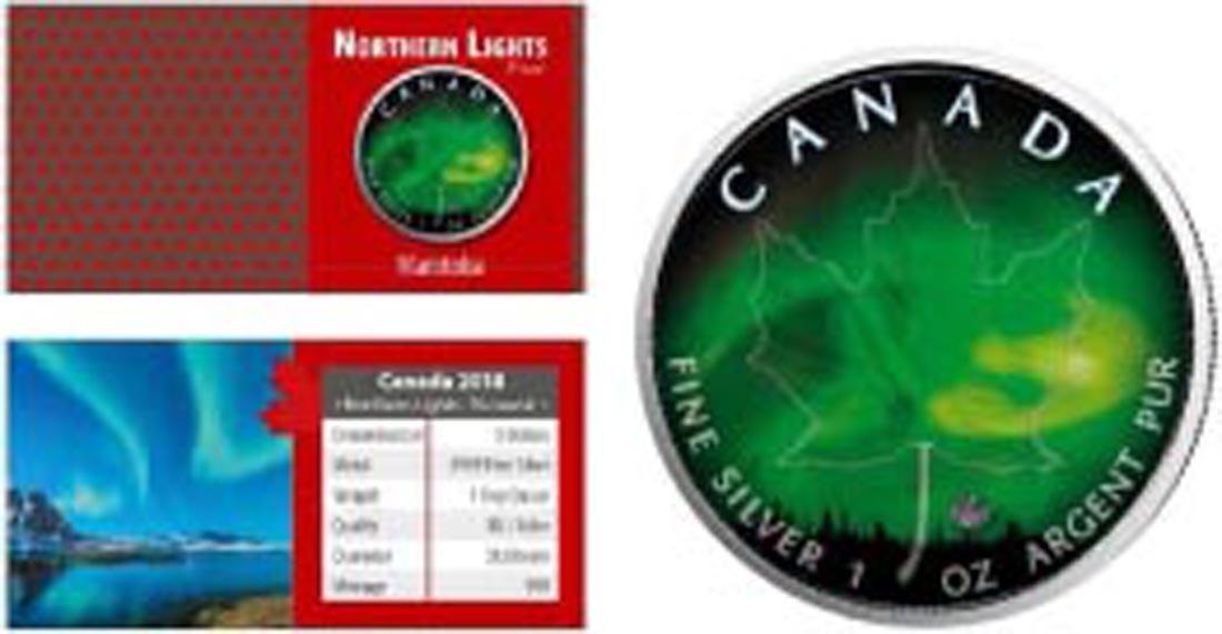 Übersicht:Kanada : 5 Dollar Maple Leaf - Nordlichter - Manitoba  2018 Stgl.