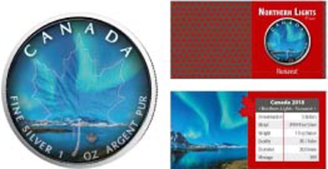 Kanada : 5 Dollar Maple Leaf - Nordlichter - Nunavut  2018 Stgl.