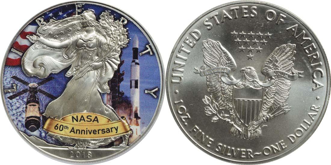 USA : 1 Dollar Silber Eagle - 60 Jahre NASA - Apollo  2018 Stgl.
