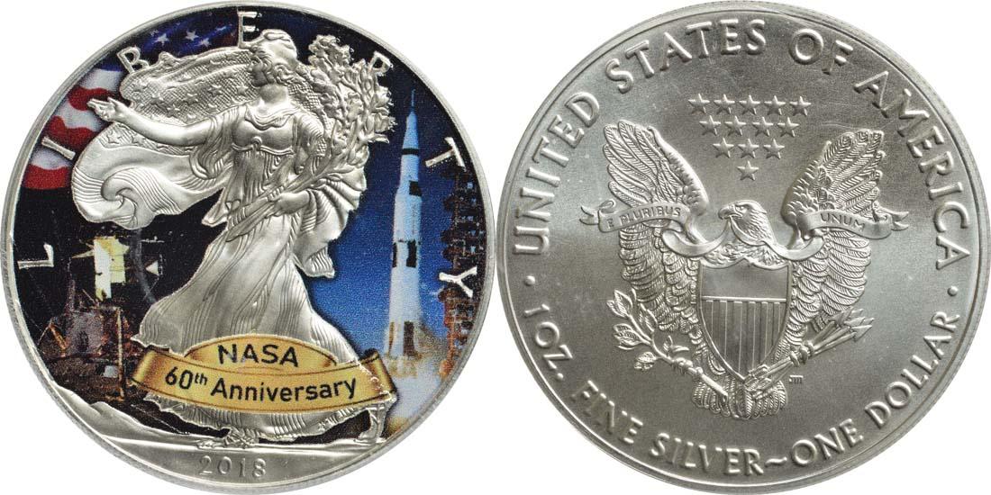 """USA : 1 Dollar Silber Eagle - 60 Jahre NASA """"Skylab  2018 Stgl."""