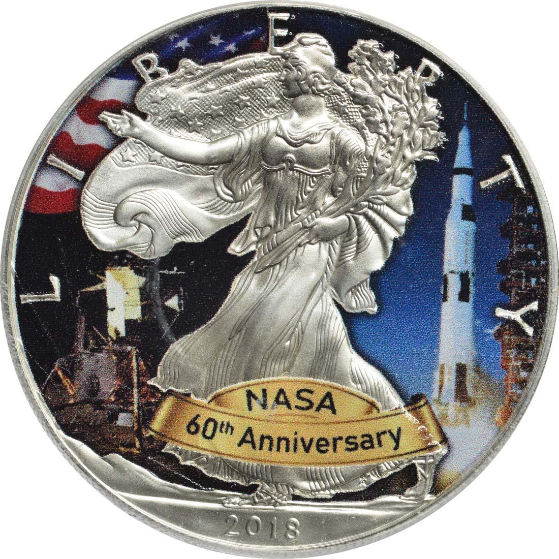 "Vorderseite:USA : 1 Dollar Silber Eagle - 60 Jahre NASA ""Skylab  2018 Stgl."
