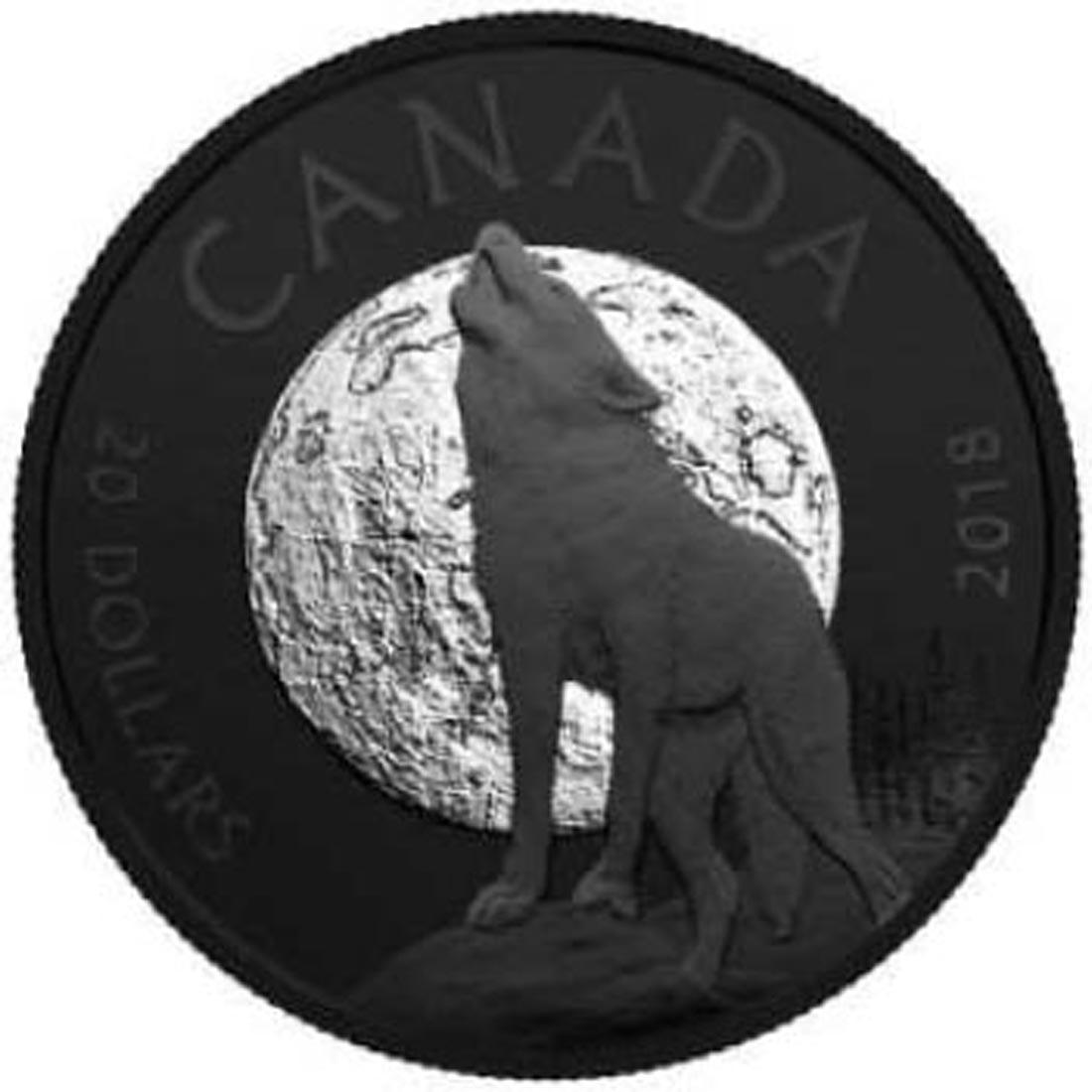 Kanada : 20 Dollar Nachttiere - Der heulende Wolf mit Rhodiumauflage  2018 PP