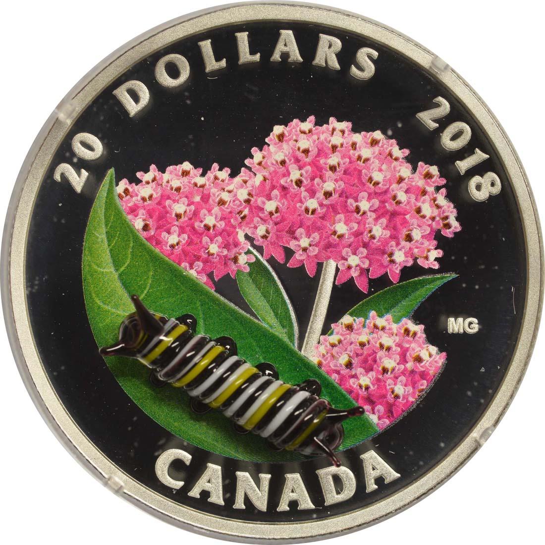 Vorderseite:Kanada : 20 Dollar Kleine Kreaturen - Monarchfalterraupe  2018 PP