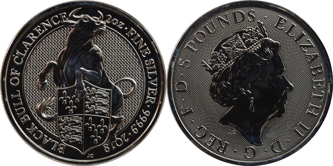 Großbritannien : 5 Pfund The Queens Beasts - Black Bull  2018 Stgl.