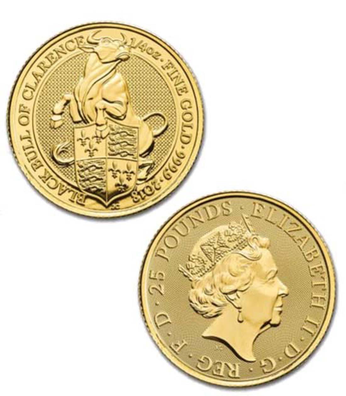 Großbritannien : 25 Pfund The Queens Beasts - Black Bull  2018 Stgl.