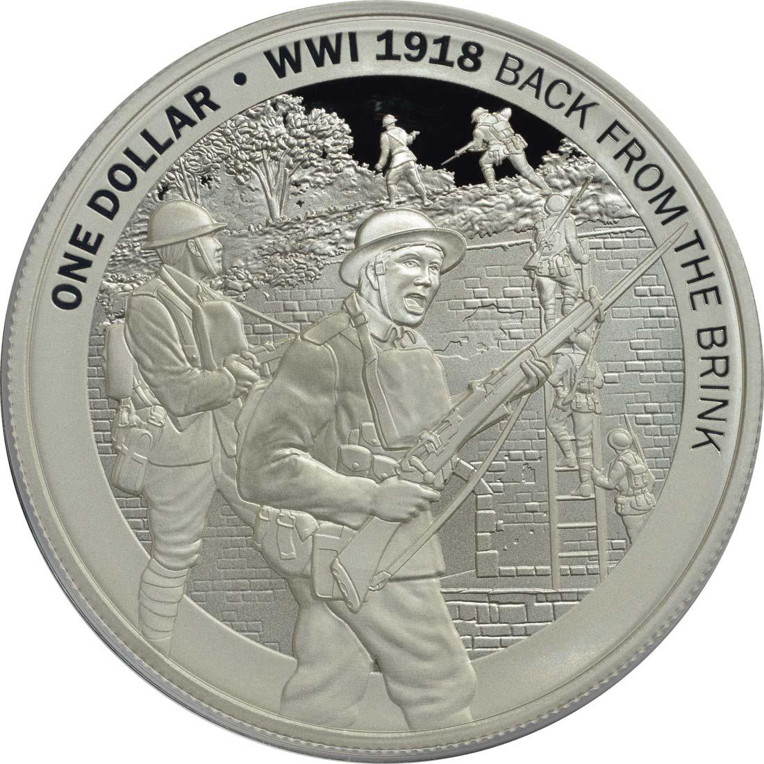 Vorderseite:Neuseeland : 1 Dollar Le Quesnoy - WW1  2018 PP