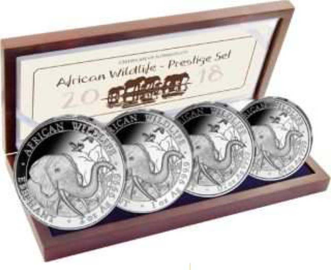 Somalia : 375 Shilling Elefant - Prestige Silber Satz  2018 PP