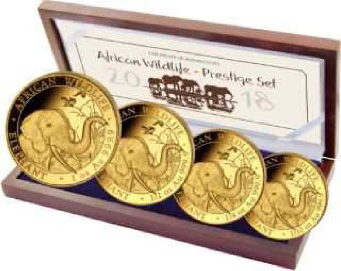 Somalia : 1800 Schilling Elefant - Prestige Gold Satz  2018 PP