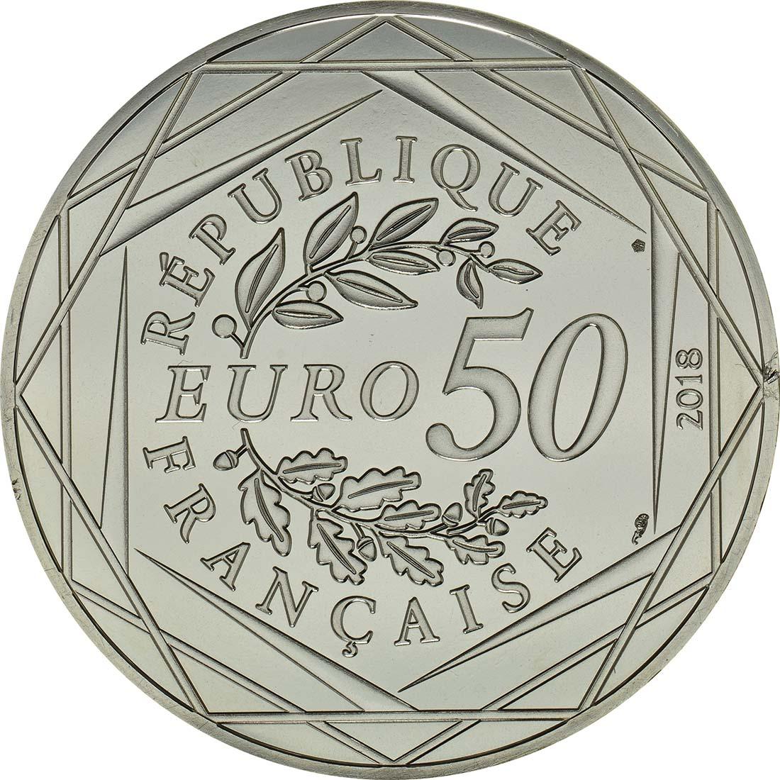 Rückseite :Frankreich : 50 Euro Micky als Student - coloriert  2018 bfr