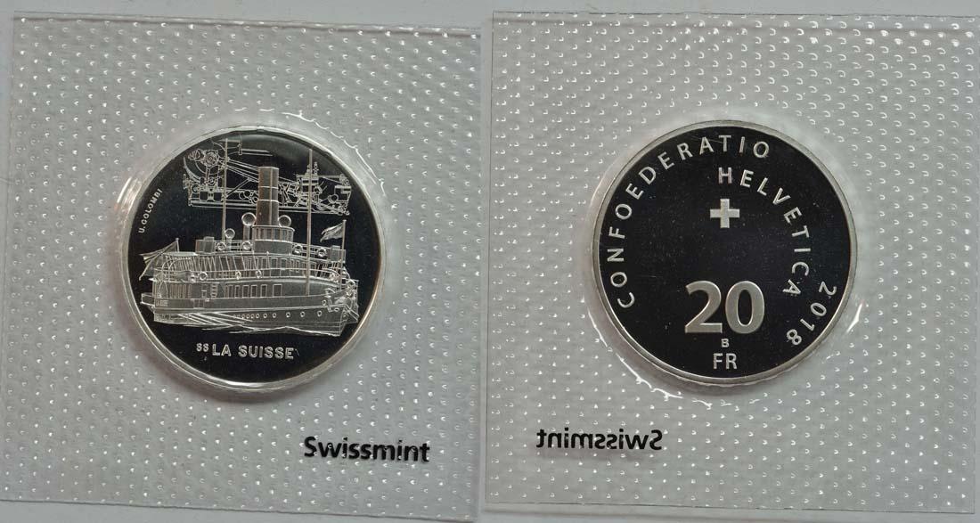 Schweiz : 20 Franken Dampfschiff La Suisse  2018 Stgl.