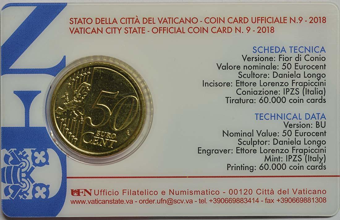 Zertifikat :Vatikan : 50 Cent   2018 bfr
