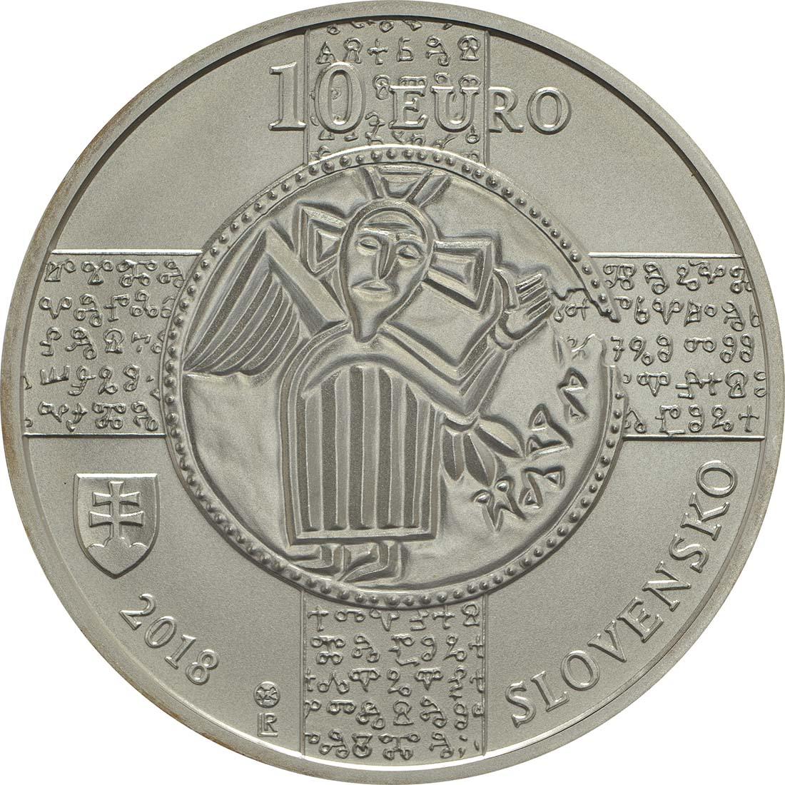 Rückseite:Slowakei : 10 Euro 1150 Jahre Kirchenslawisch (Liturgiesprache)  2018 bfr