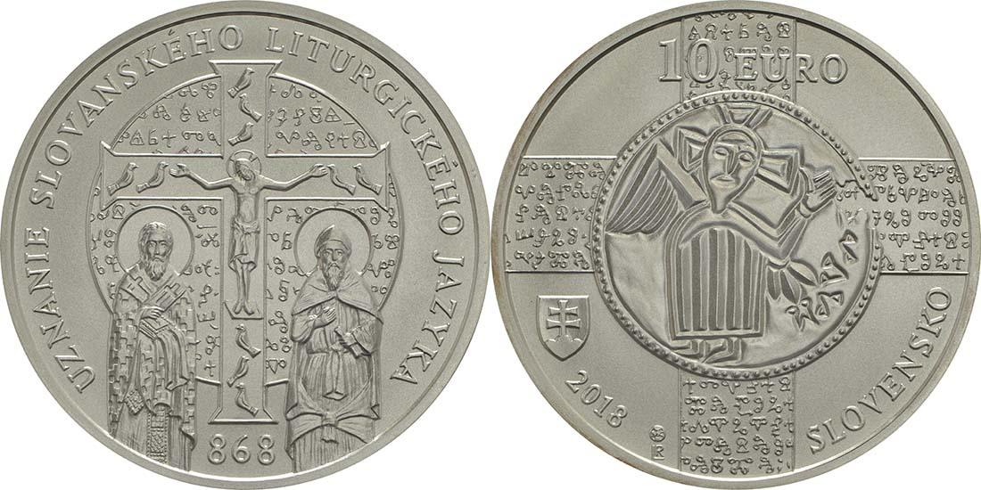Lieferumfang:Slowakei : 10 Euro 1150 Jahre Kirchenslawisch (Liturgiesprache)  2018 bfr