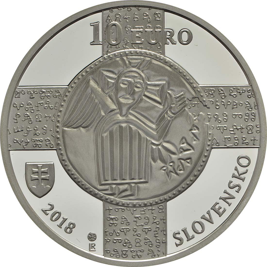 Rückseite :Slowakei : 10 Euro 1150 Jahre Kirchenslawisch (Literatursprache)  2018 PP