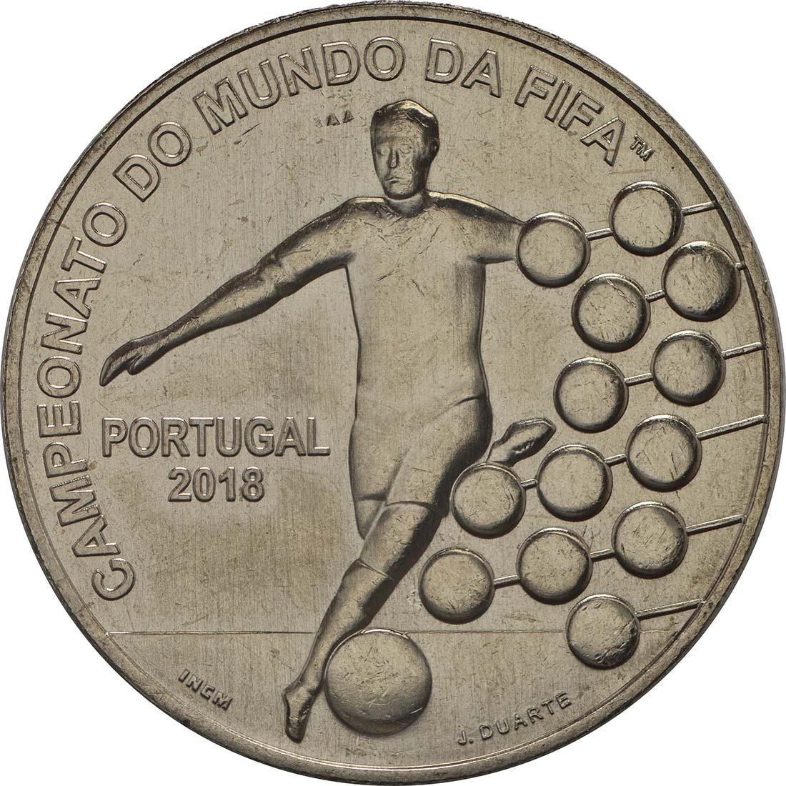 Vorderseite:Portugal : 2,5 Euro FIFA Fußball WM  2018 bfr