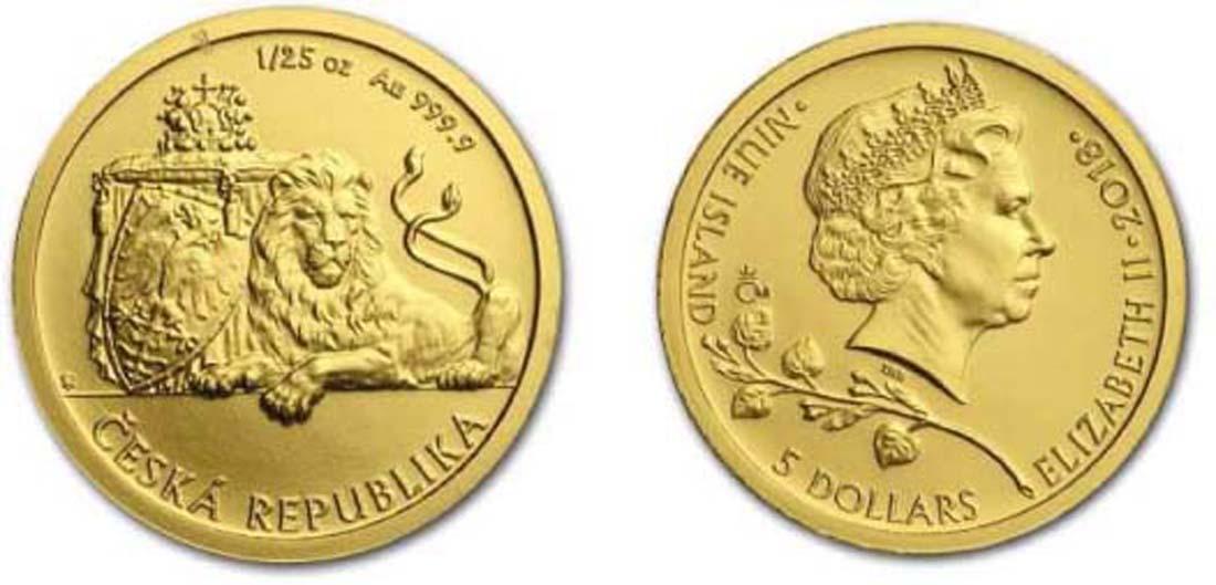 Niue : 5 Dollar Tschechischer Löwe  2015 Stgl.