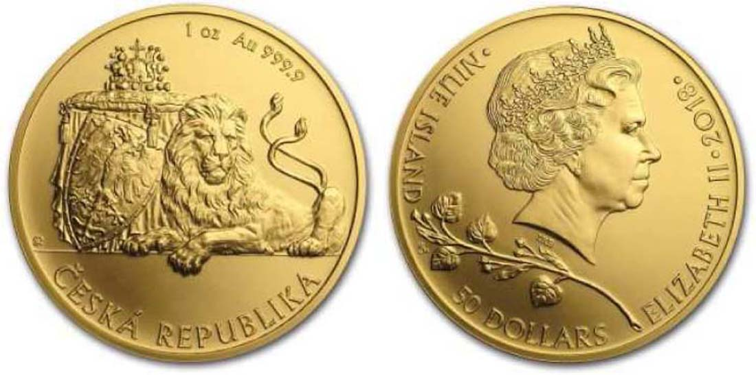 Niue : 50 Dollar Tschechischer Löwe  2018 Stgl.