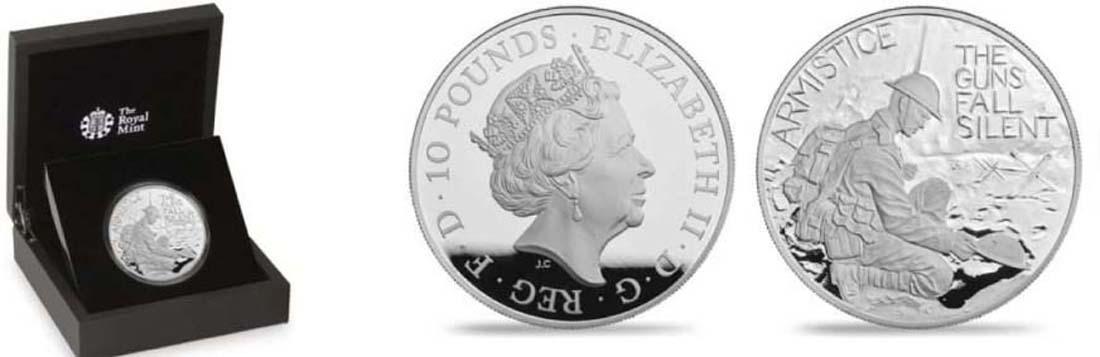 Großbritannien : 10 Pfund 100 Jahre Waffenstillstand  2018 PP