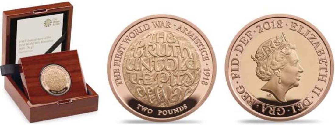 Großbritannien : 2 Pfund 100 Jahre Waffenstillstand  2018 PP