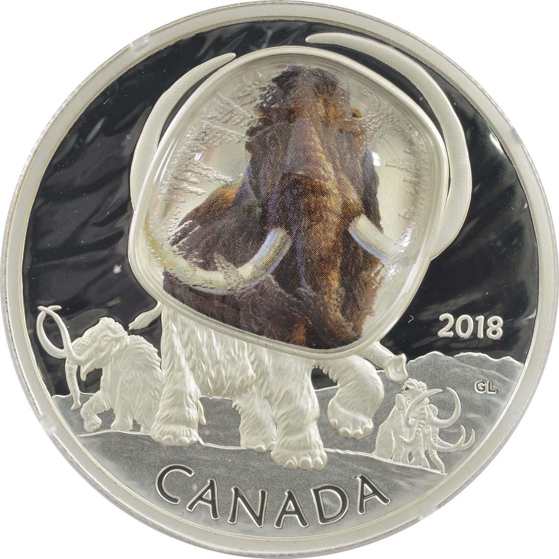 Vorderseite:Kanada : 20 Dollar Wollhaarmammut - Eingefroren im Eis  2018 PP