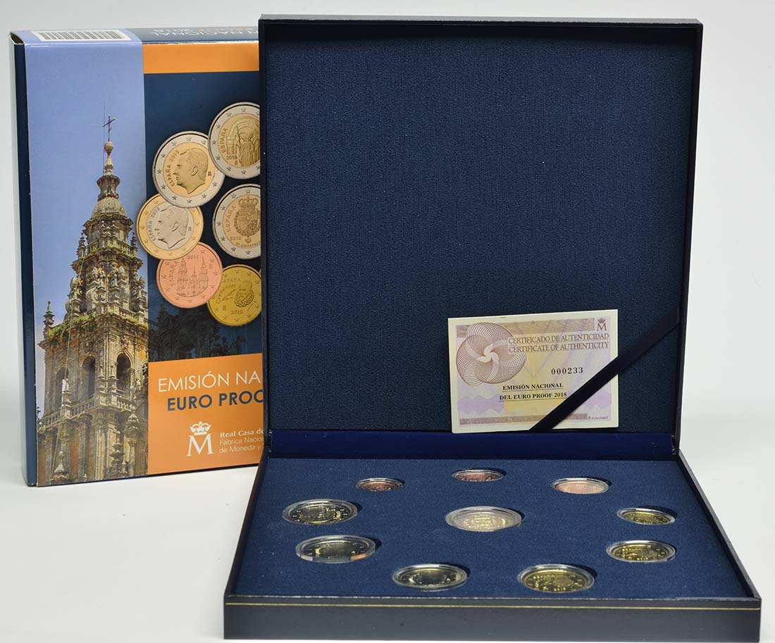 Spanien : 7,88 Euro KMS Spanien inkl. 2x2 Euro Gedenkmüzen  2018 PP