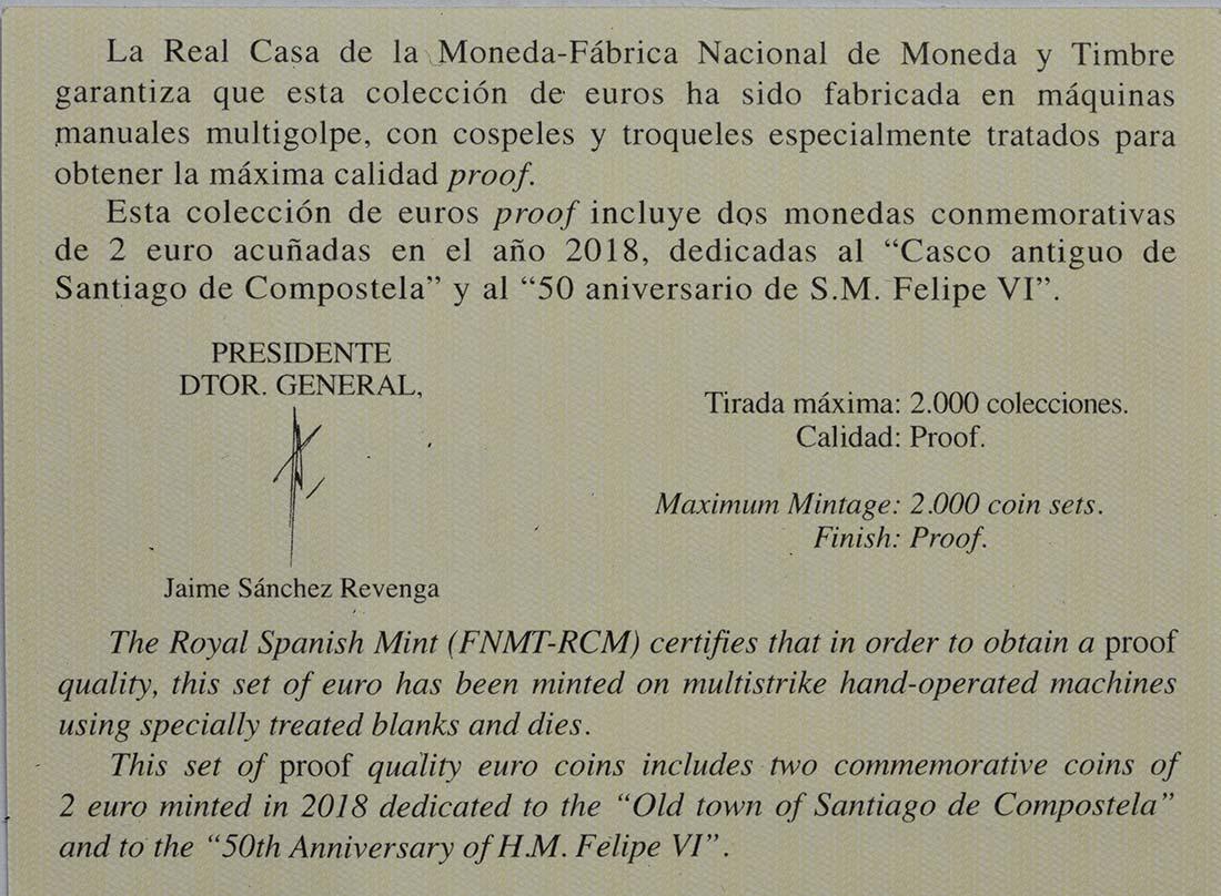 Zertifikat:Spanien : 7,88 Euro KMS Spanien inkl. 2x2 Euro Gedenkmüzen  2018 PP