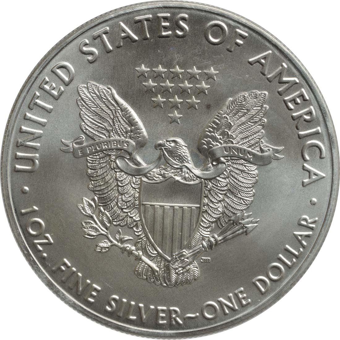 Bild der Rückseite :USA - 1 Dollar Silber Eagle - 60 Jahre NASA - Gemini  2018 Stgl.