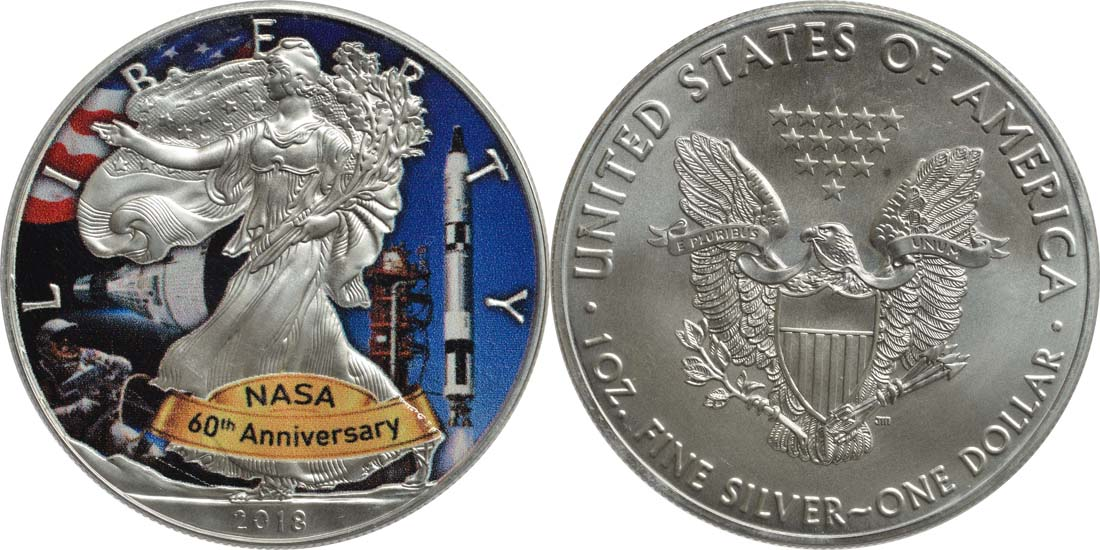 Bild des Lieferumfangs :USA - 1 Dollar Silber Eagle - 60 Jahre NASA - Gemini  2018 Stgl.