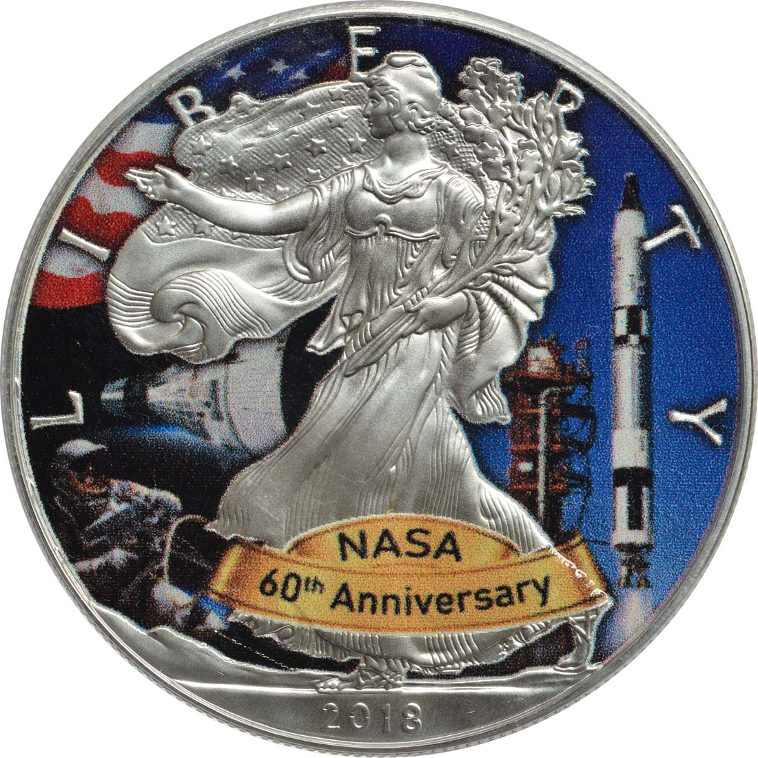 Bild der Vorderseite :USA - 1 Dollar Silber Eagle - 60 Jahre NASA - Gemini  2018 Stgl.