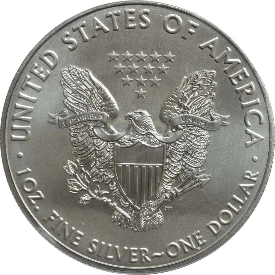 Bild der Rückseite :USA - 1 Dollar Silber Eagle - 60 Jahre NASA - Mercury  2018 Stgl.