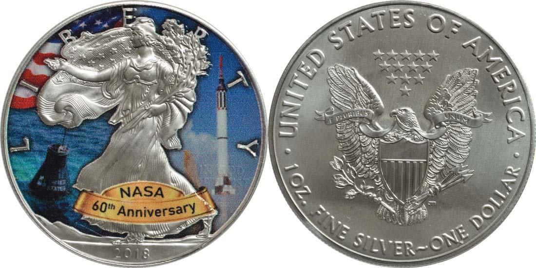 USA : 1 Dollar Silber Eagle - 60 Jahre NASA - Mercury  2018 Stgl.