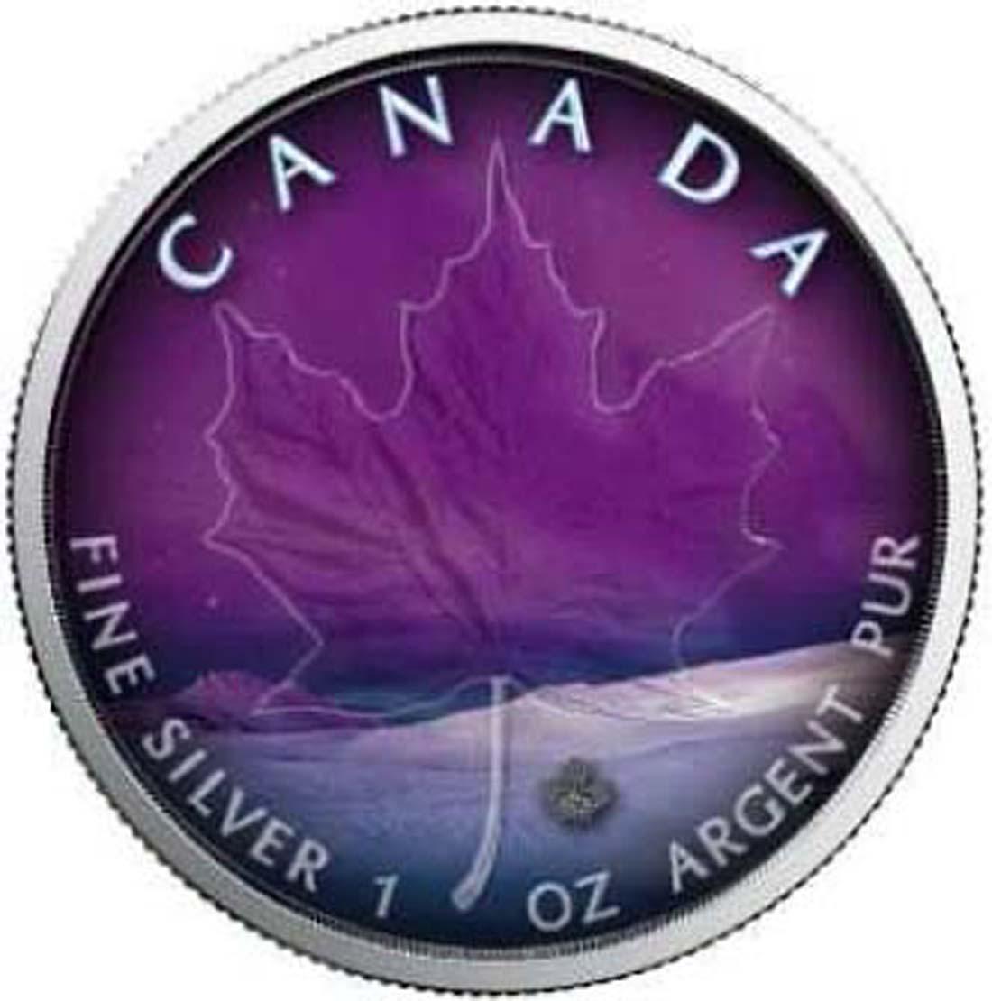 Kanada : 5 Dollar Maple Leaf - Nordlichter - Yukon  2018 Stgl.