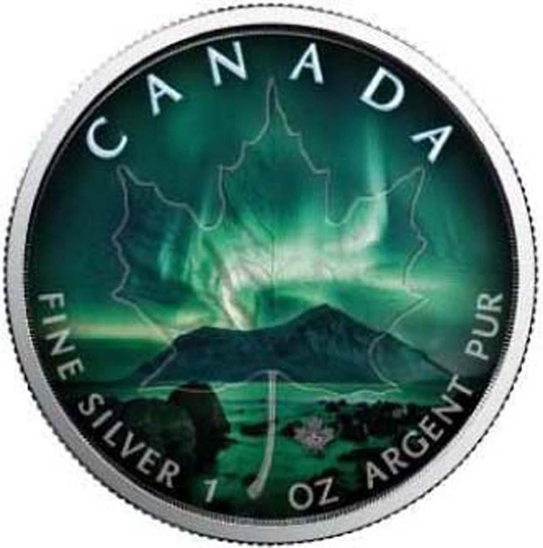 Bild des Lieferumfangs :Kanada - 5 Dollar Maple Leaf - Nordlichter - Northwest Territories  2018 Stgl.