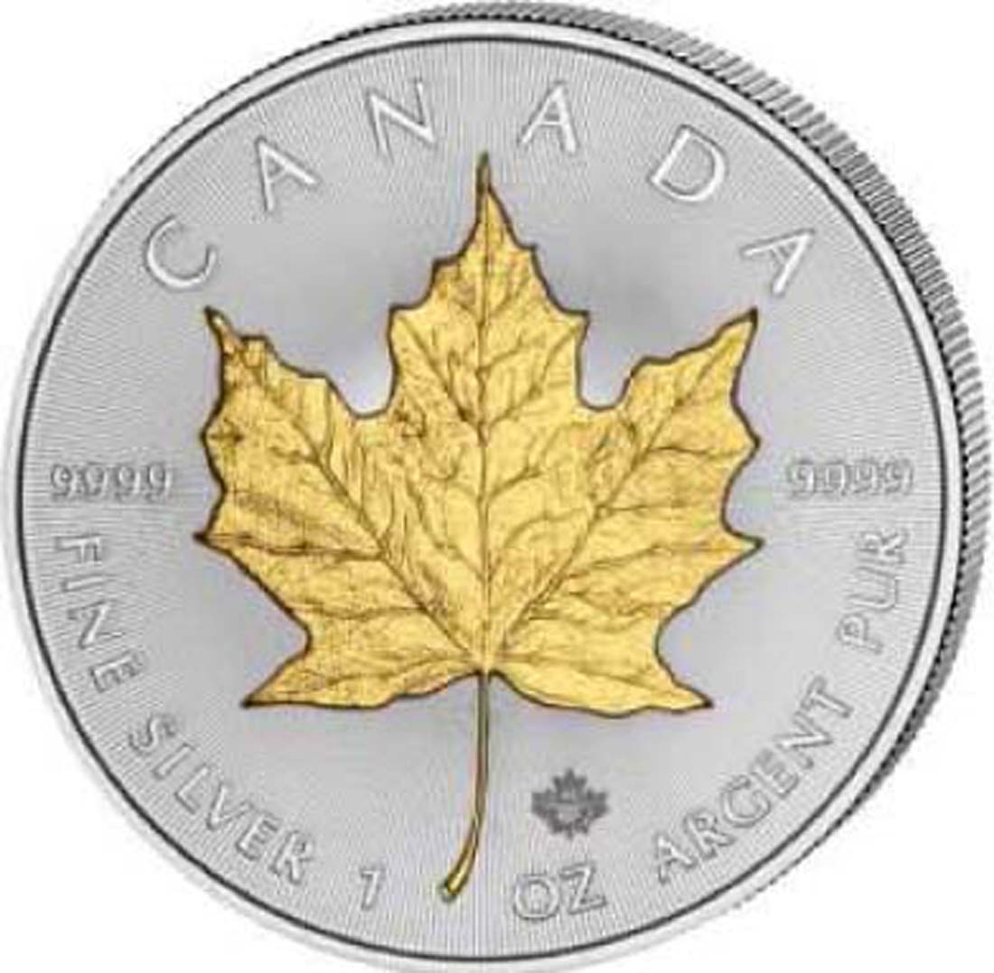 Kanada : 5 Dollar Maple Leaf - teilvergoldet  2018 Stgl.