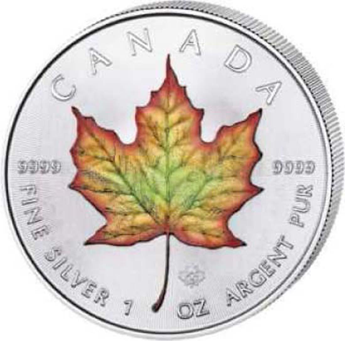 Kanada : 5 Dollar Maple Leaf - farbig  2018 Stgl.