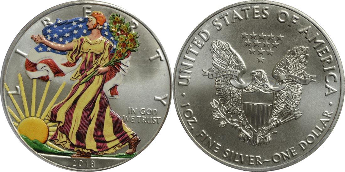 USA : 1 Dollar Silber Eagle - farbig  2018 Stgl.