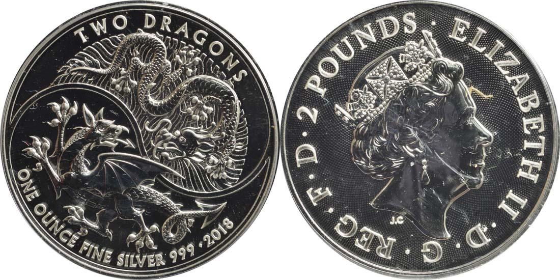 Großbritannien : 2 Pfund Two Dragons  2018 Stgl.