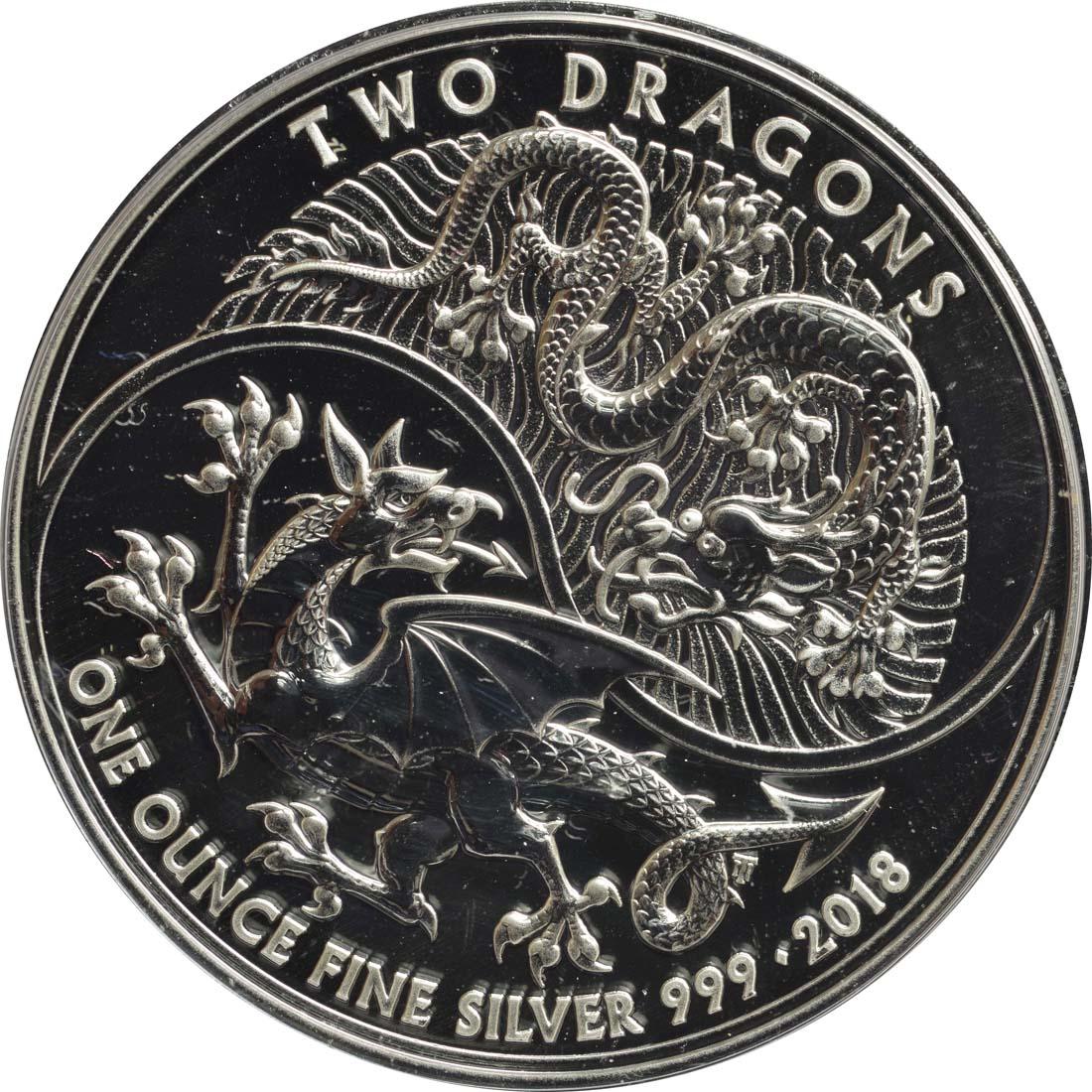 Vorderseite:Großbritannien : 2 Pfund Two Dragons  2018 Stgl.