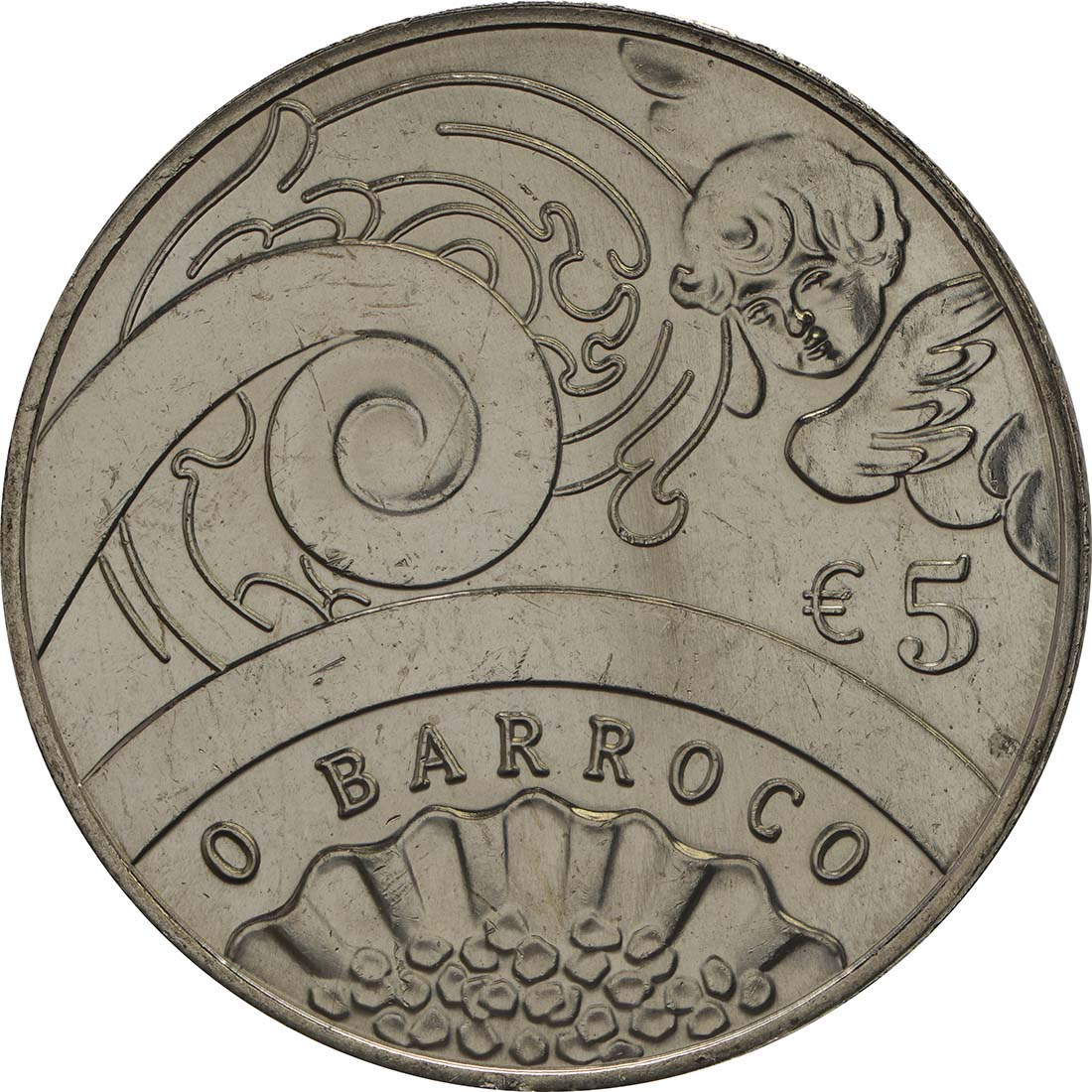 Vorderseite :Portugal : 5 Euro Barock und Rokoko  2018 bfr