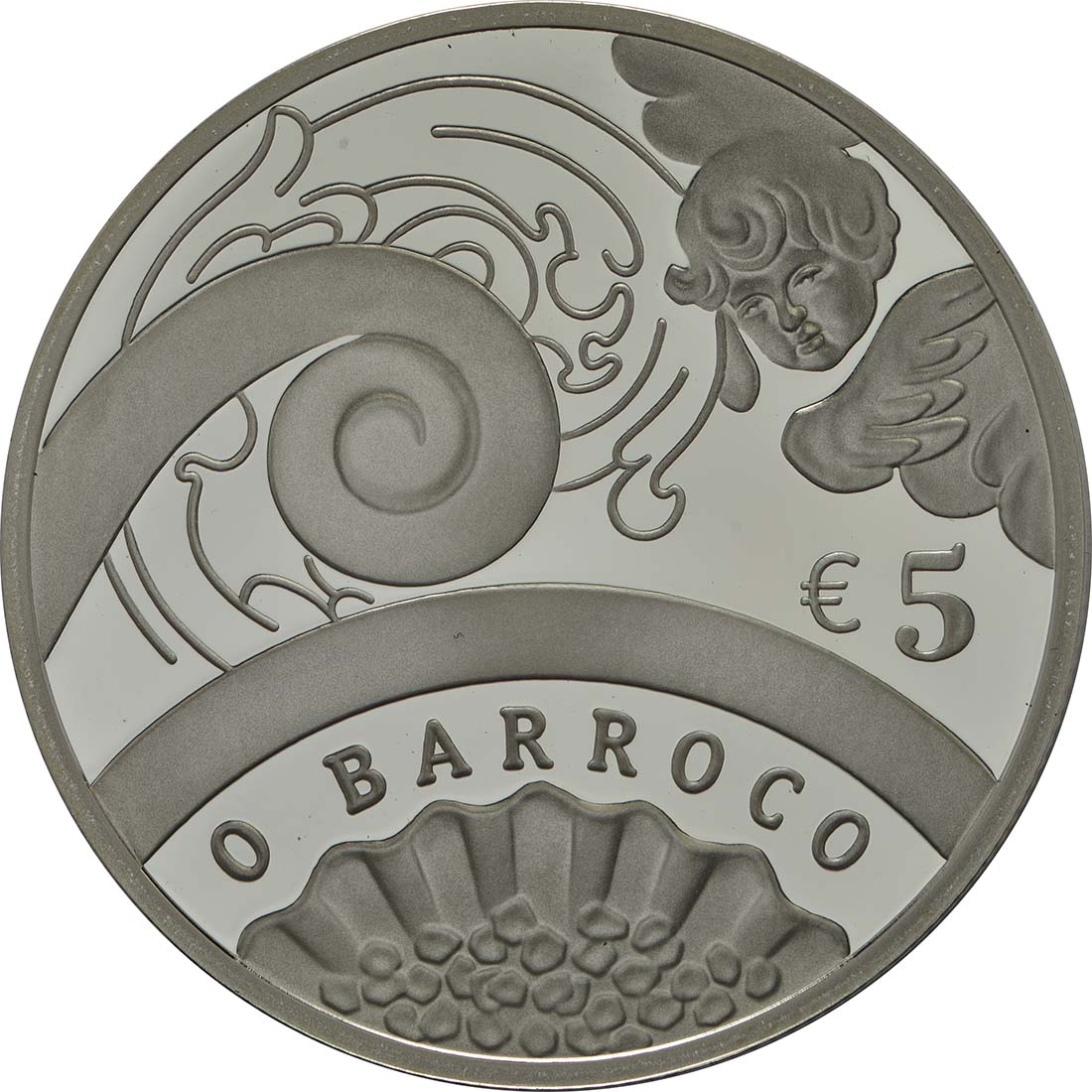 Vorderseite:Portugal : 5 Euro Barock und Rokoko  2018 PP