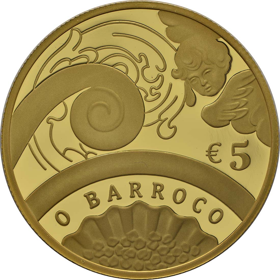 Vorderseite :Portugal : 5 Euro Barock und Rokoko  2018 PP