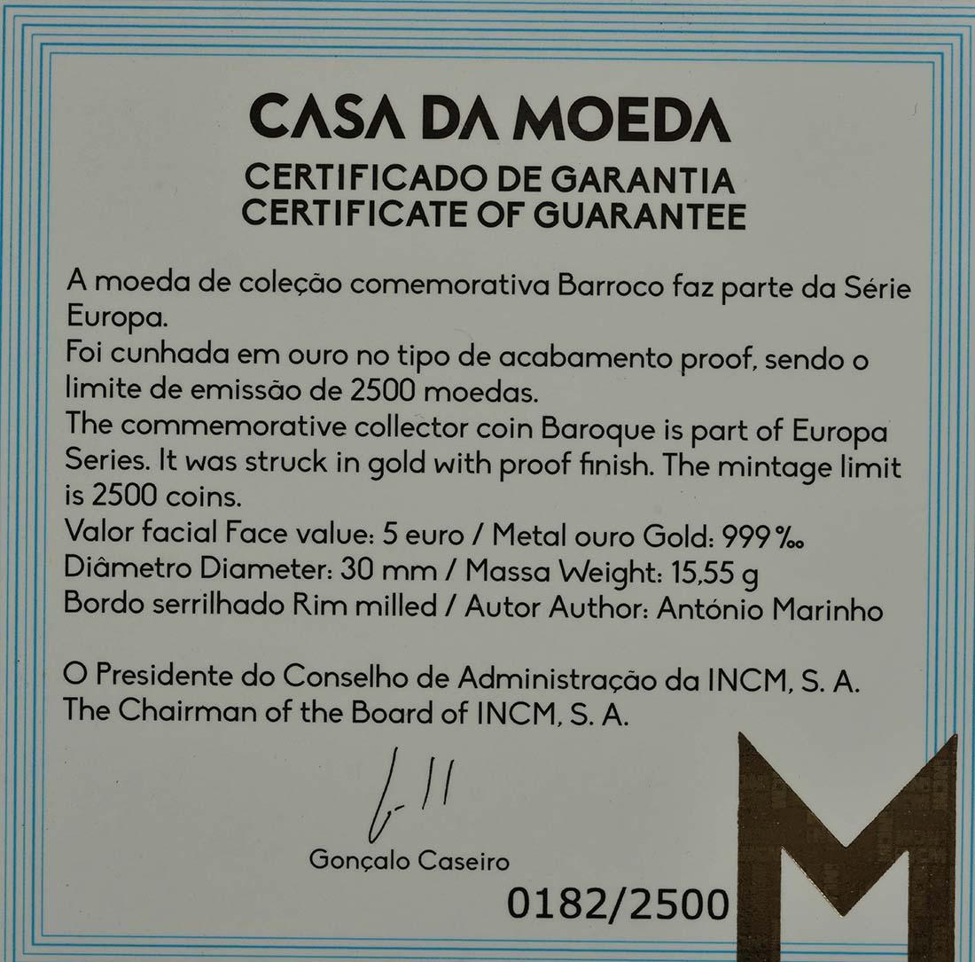 Zertifikat :Portugal : 5 Euro Barock und Rokoko  2018 PP