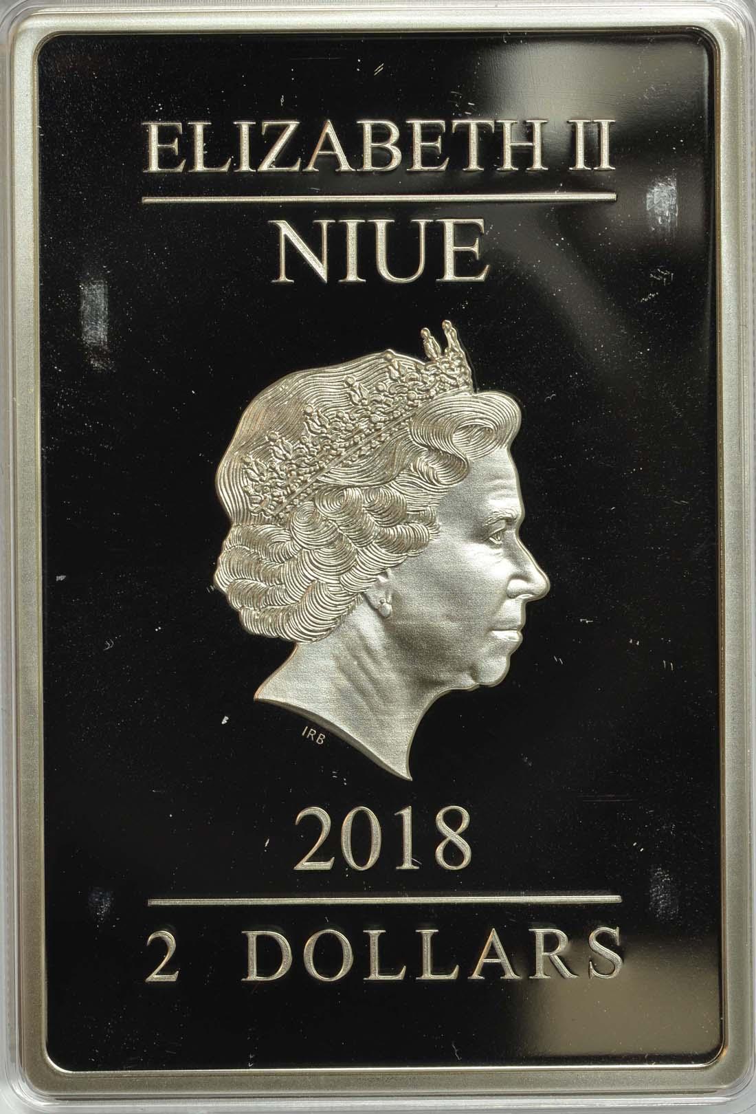 Rückseite :Niue : 2 Dollar Star Wars - Phantom Menace - Episode I Die Dunkle Bedrohung  2018 PP