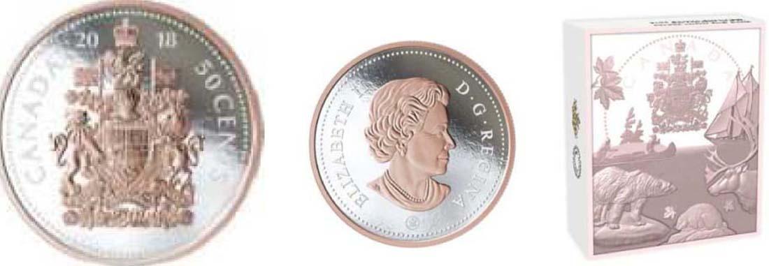 Kanada 50 Cent Große Münzen Wappen 2018 Silber Pp 42723 Euro