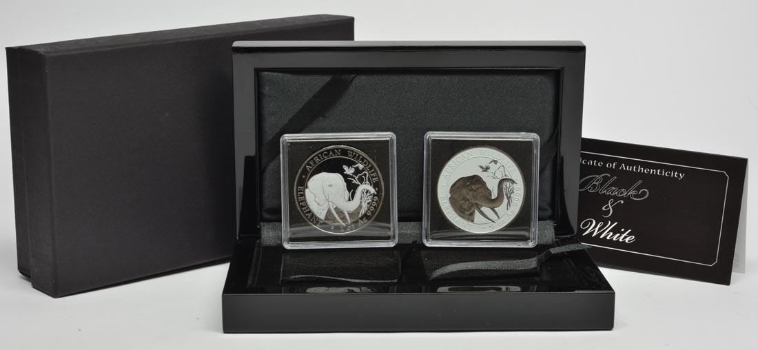 Somalia : 200 Schilling 2 x100 Schilling Elefant - Farbset - Black & White  2018 Stgl.