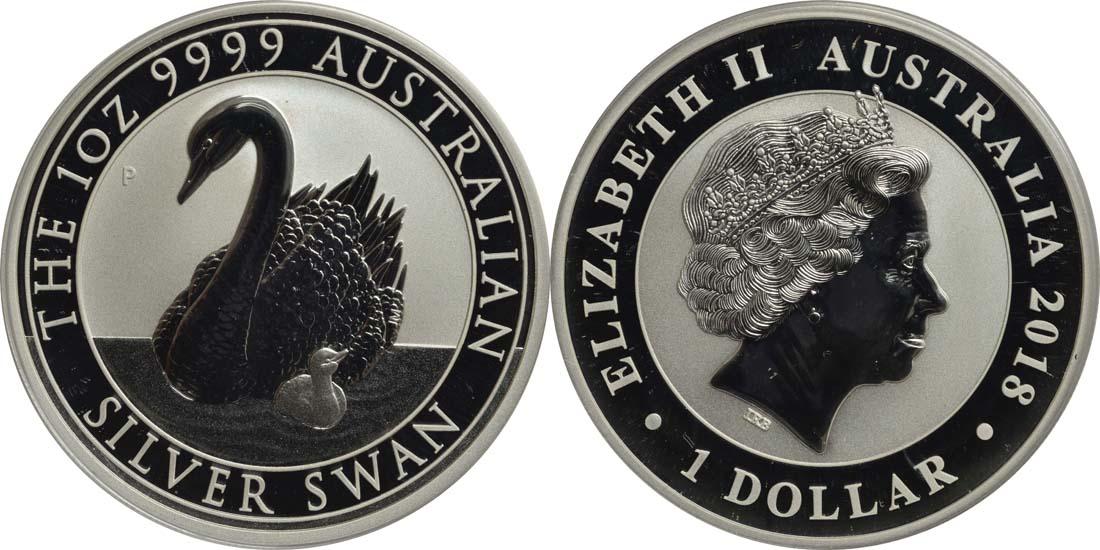 Australien : 1 Dollar Schwan  2018 Stgl.